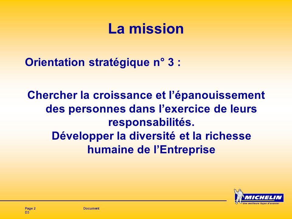 Page 2Document D3 La mission Orientation stratégique n° 3 : Chercher la croissance et lépanouissement des personnes dans lexercice de leurs responsabilités.