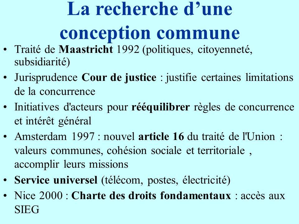 La recherche dune conception commune Traité de Maastricht 1992 (politiques, citoyenneté, subsidiarité) Jurisprudence Cour de justice : justifie certai