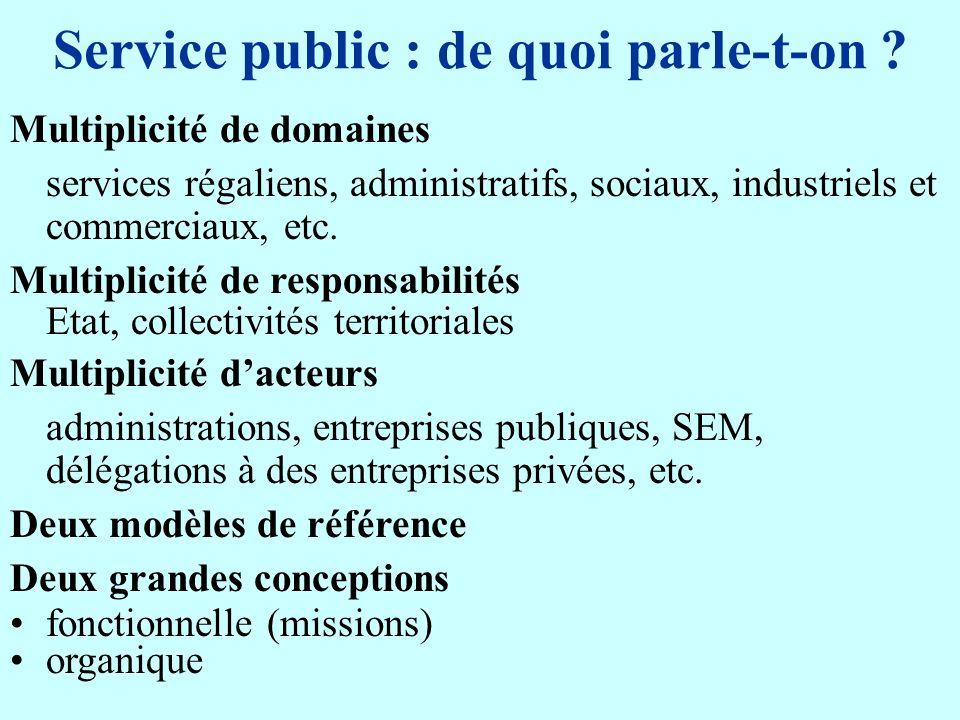 Service public : de quoi parle-t-on ? Multiplicité de domaines services régaliens, administratifs, sociaux, industriels et commerciaux, etc. Multiplic