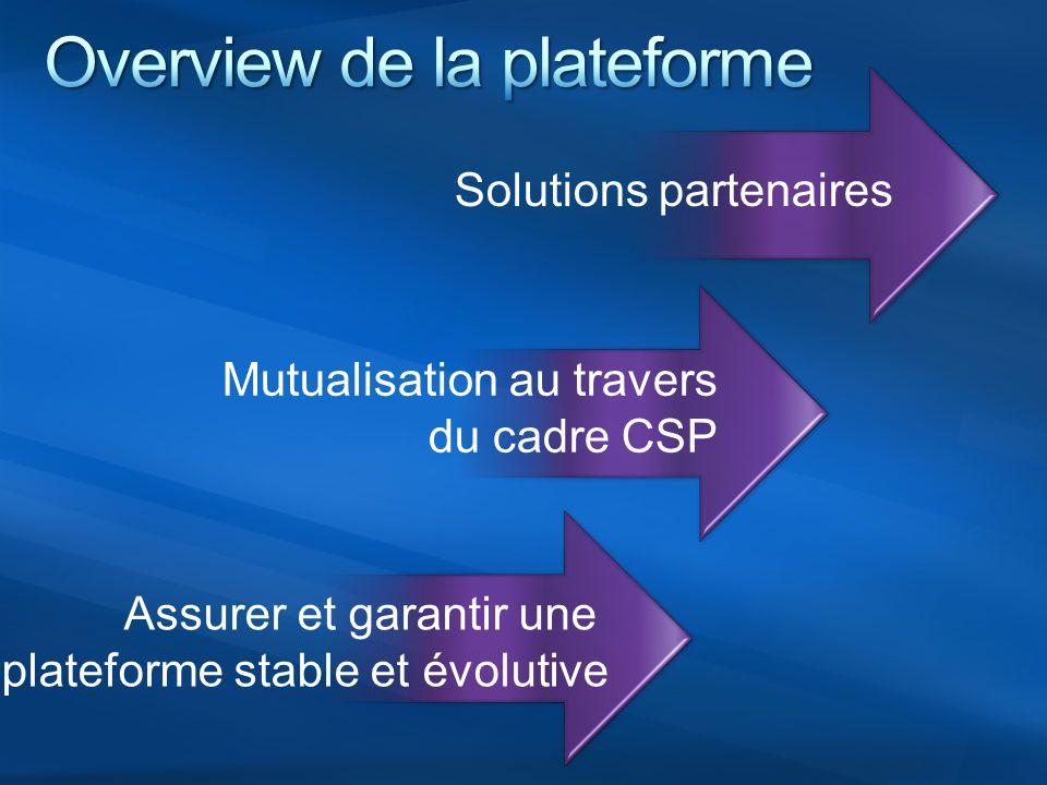 Assurer et garantir une plateforme stable et évolutive Mutualisation au travers du cadre CSP Solutions partenaires