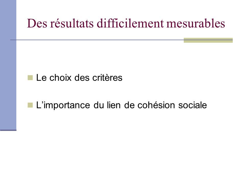 Des résultats difficilement mesurables Le choix des critères Limportance du lien de cohésion sociale
