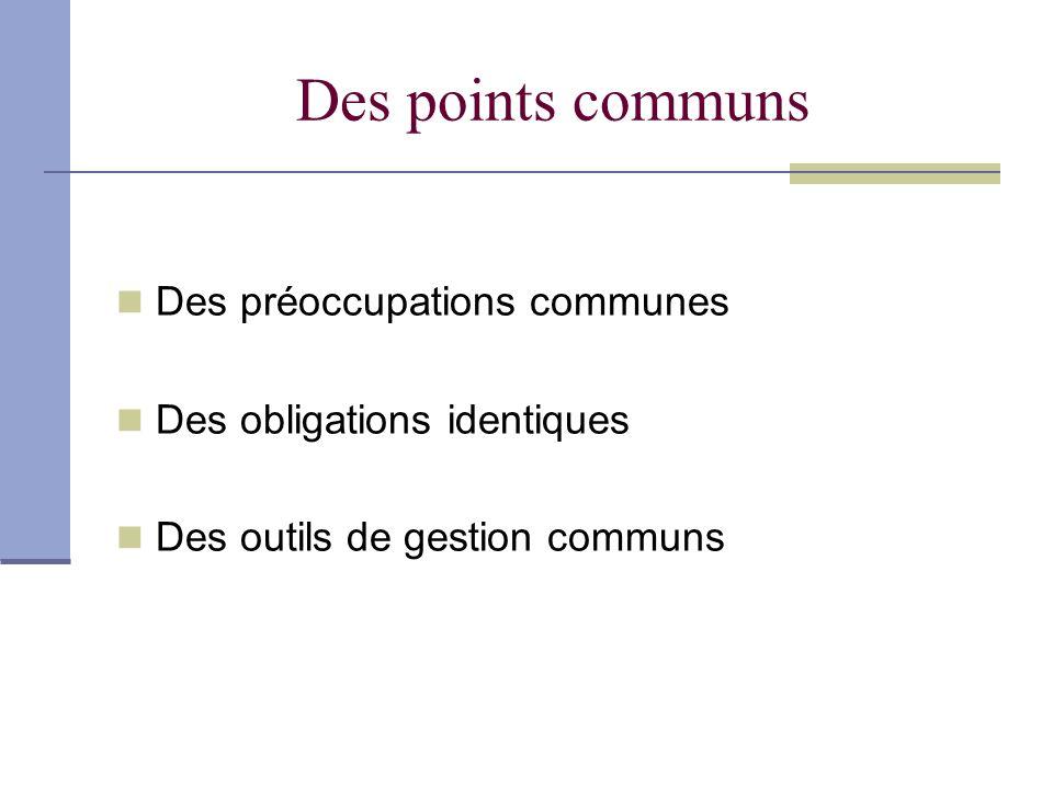 Des points communs Des préoccupations communes Des obligations identiques Des outils de gestion communs