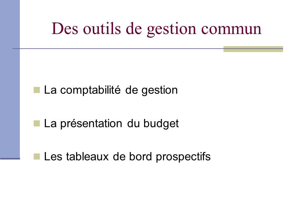 Des outils de gestion commun La comptabilité de gestion La présentation du budget Les tableaux de bord prospectifs