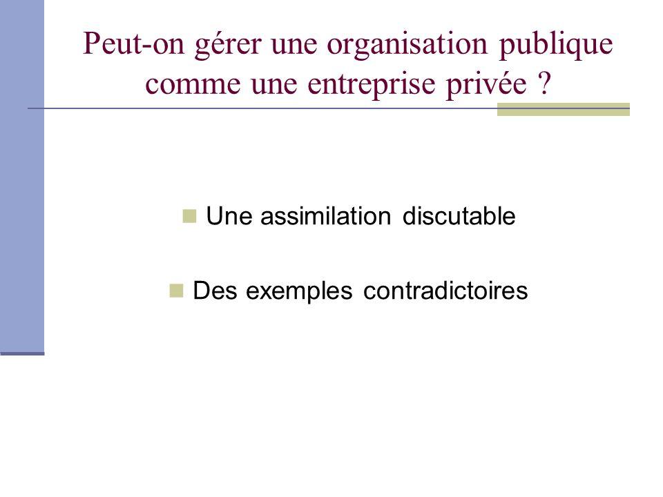 Peut-on gérer une organisation publique comme une entreprise privée ? Une assimilation discutable Des exemples contradictoires