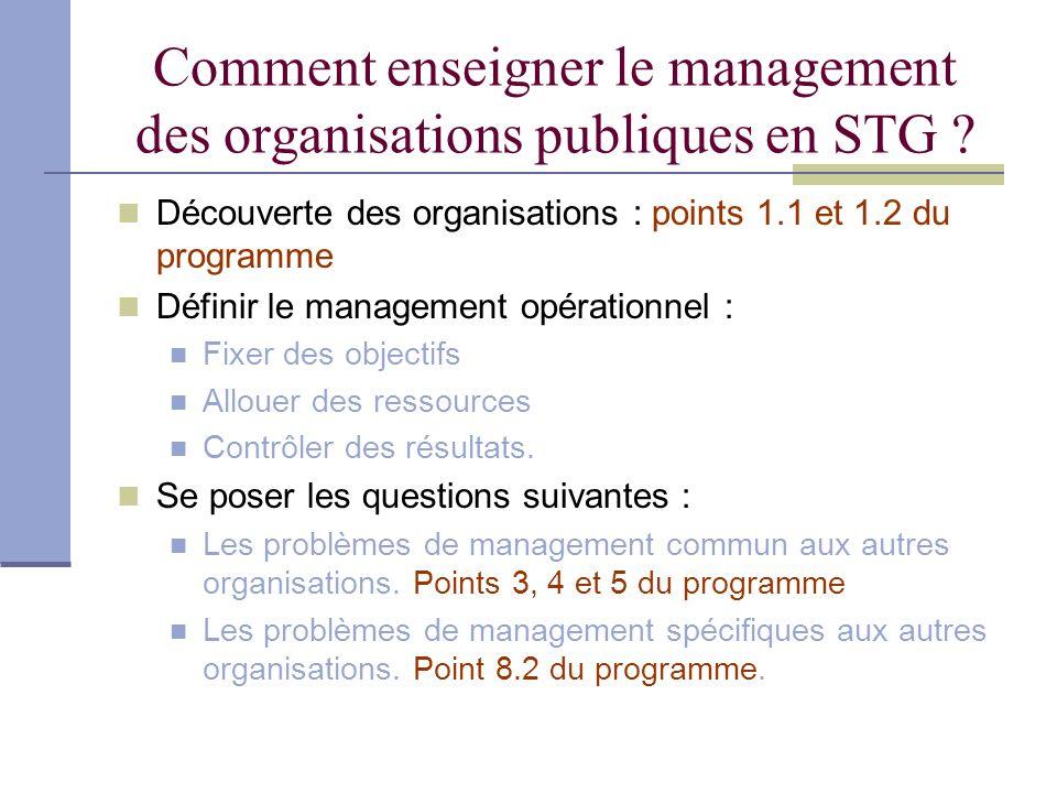Comment enseigner le management des organisations publiques en STG ? Découverte des organisations : points 1.1 et 1.2 du programme Définir le manageme
