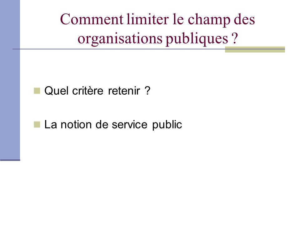 Comment limiter le champ des organisations publiques ? Quel critère retenir ? La notion de service public