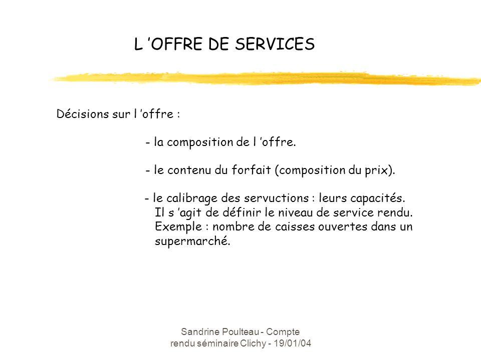 Sandrine Poulteau - Compte rendu séminaire Clichy - 19/01/04 L OFFRE DE SERVICES Décisions sur l offre : - la composition de l offre.