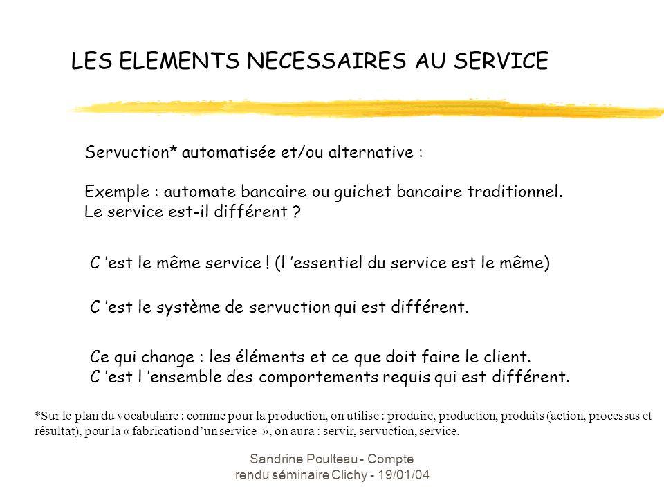 Sandrine Poulteau - Compte rendu séminaire Clichy - 19/01/04 LES ELEMENTS NECESSAIRES AU SERVICE Servuction* automatisée et/ou alternative : Exemple : automate bancaire ou guichet bancaire traditionnel.