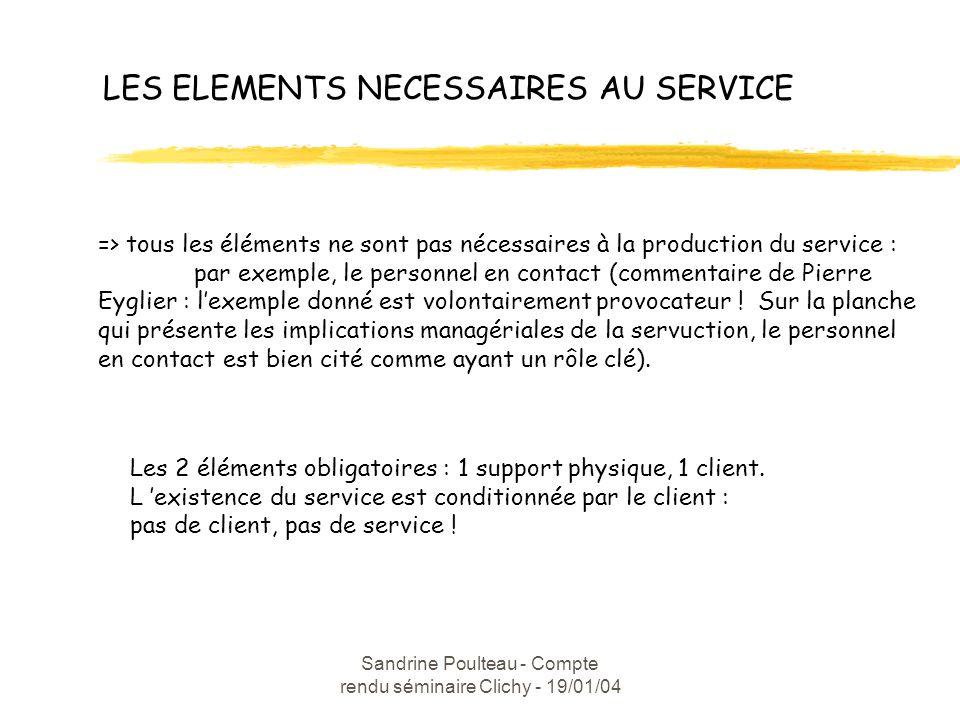 Sandrine Poulteau - Compte rendu séminaire Clichy - 19/01/04 LES ELEMENTS NECESSAIRES AU SERVICE => tous les éléments ne sont pas nécessaires à la production du service : par exemple, le personnel en contact (commentaire de Pierre Eyglier : lexemple donné est volontairement provocateur .