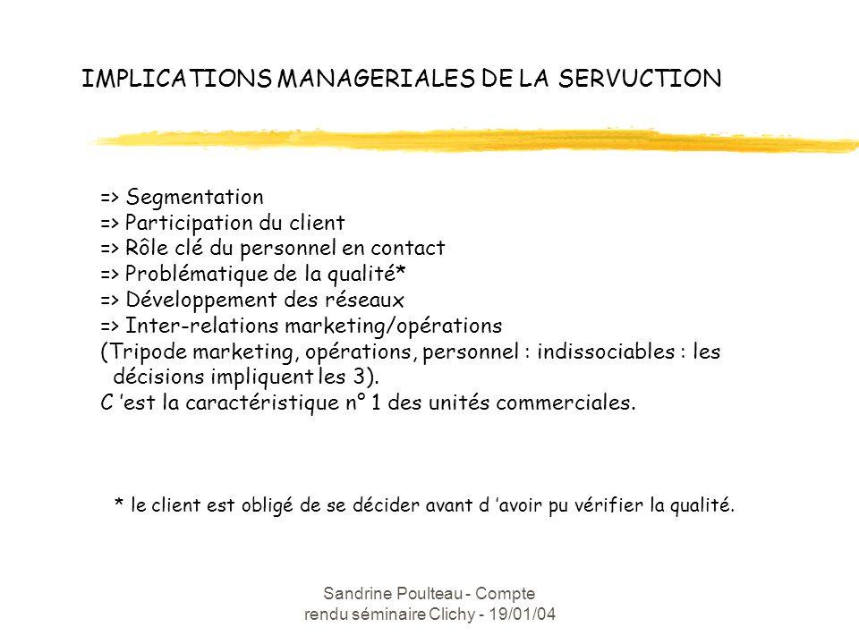 Sandrine Poulteau - Compte rendu séminaire Clichy - 19/01/04 IMPLICATIONS MANAGERIALES DE LA SERVUCTION => Segmentation => Participation du client => Rôle clé du personnel en contact => Problématique de la qualité* => Développement des réseaux => Inter-relations marketing/opérations (Tripode marketing, opérations, personnel : indissociables : les décisions impliquent les 3).