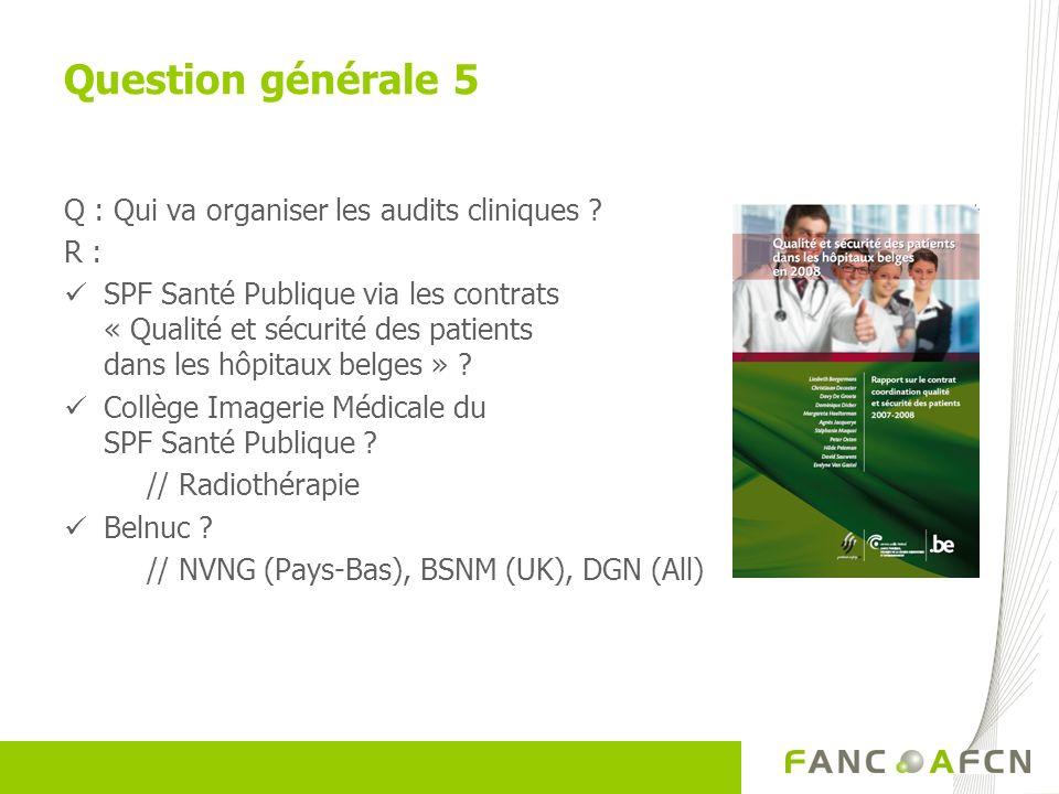 Q : Qui va organiser les audits cliniques ? R : SPF Santé Publique via les contrats « Qualité et sécurité des patients dans les hôpitaux belges » ? Co