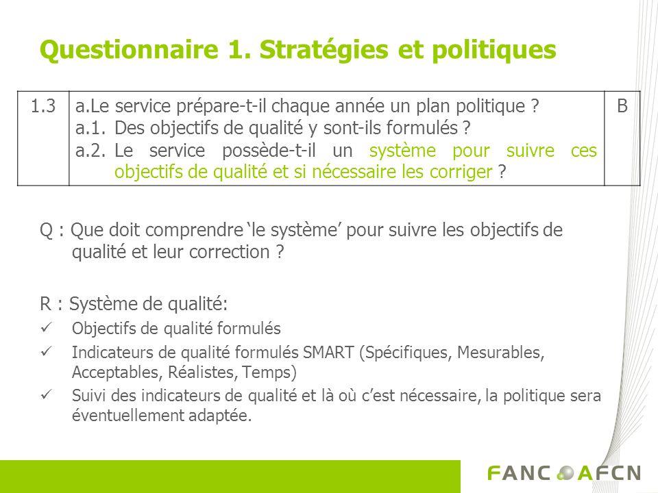 Questionnaire 1. Stratégies et politiques Q : Que doit comprendre le système pour suivre les objectifs de qualité et leur correction ? R : Système de