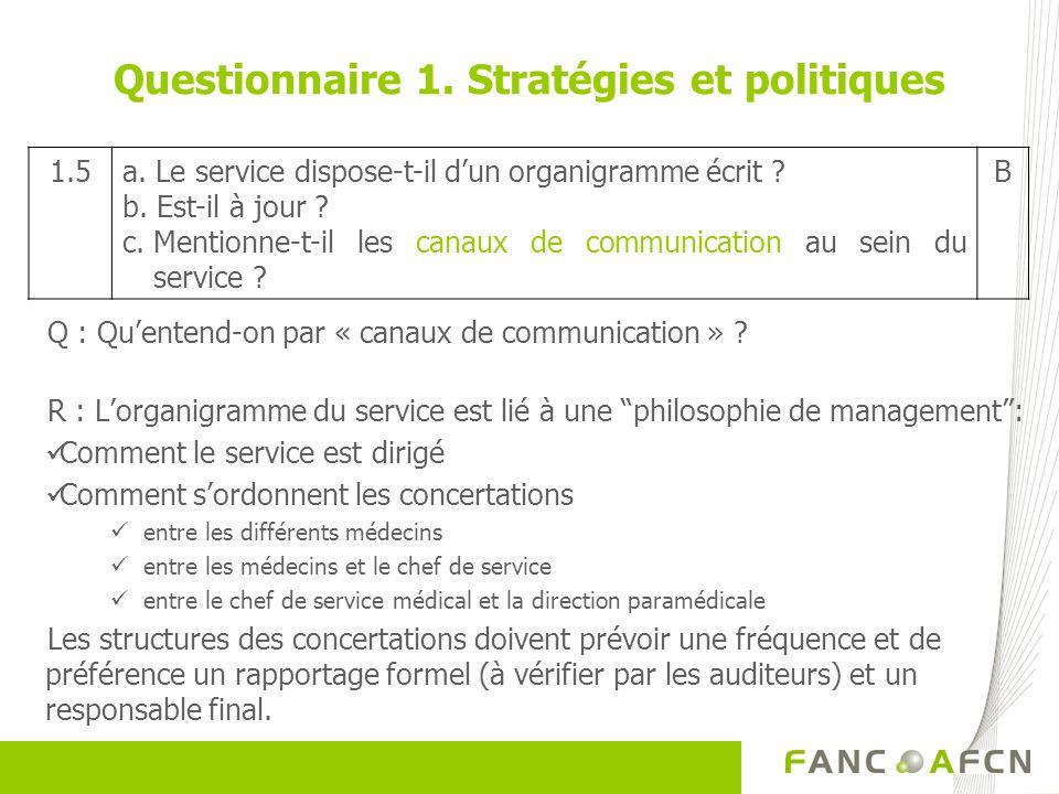Q : Quentend-on par « canaux de communication » ? R : Lorganigramme du service est lié à une philosophie de management: Comment le service est dirigé