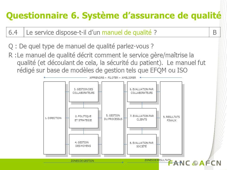 Questionnaire 6. Système dassurance de qualité Q : De quel type de manuel de qualité parlez-vous ? R :Le manuel de qualité décrit comment le service g