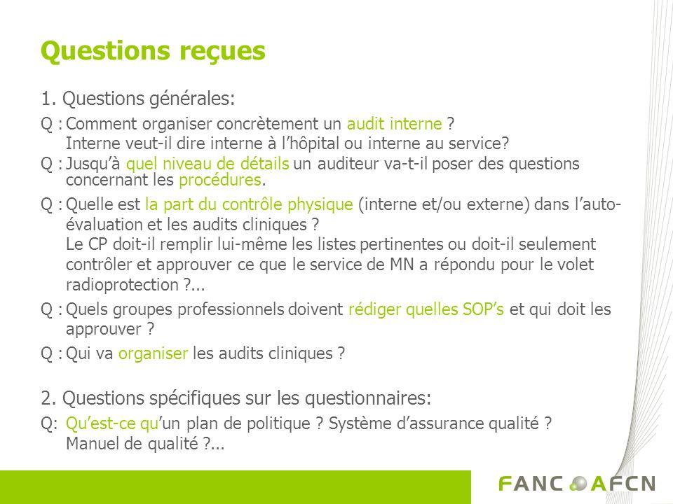 Questions reçues 1. Questions générales: Q :Comment organiser concrètement un audit interne ? Interne veut-il dire interne à lhôpital ou interne au se