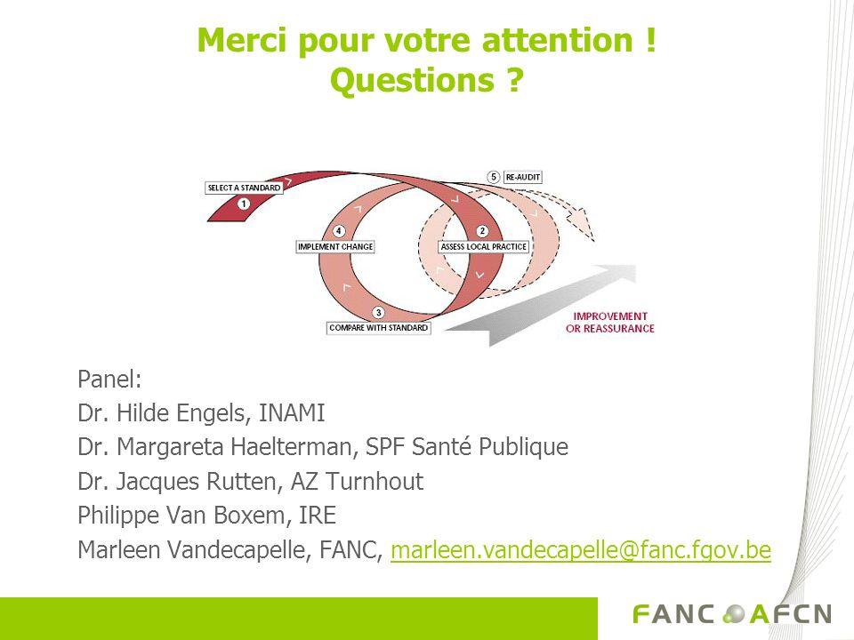 Merci pour votre attention ! Questions ? Panel: Dr. Hilde Engels, INAMI Dr. Margareta Haelterman, SPF Santé Publique Dr. Jacques Rutten, AZ Turnhout P