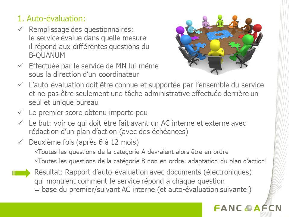 1. Auto-évaluation: Remplissage des questionnaires: le service évalue dans quelle mesure il répond aux différentes questions du B-QUANUM Effectuée par