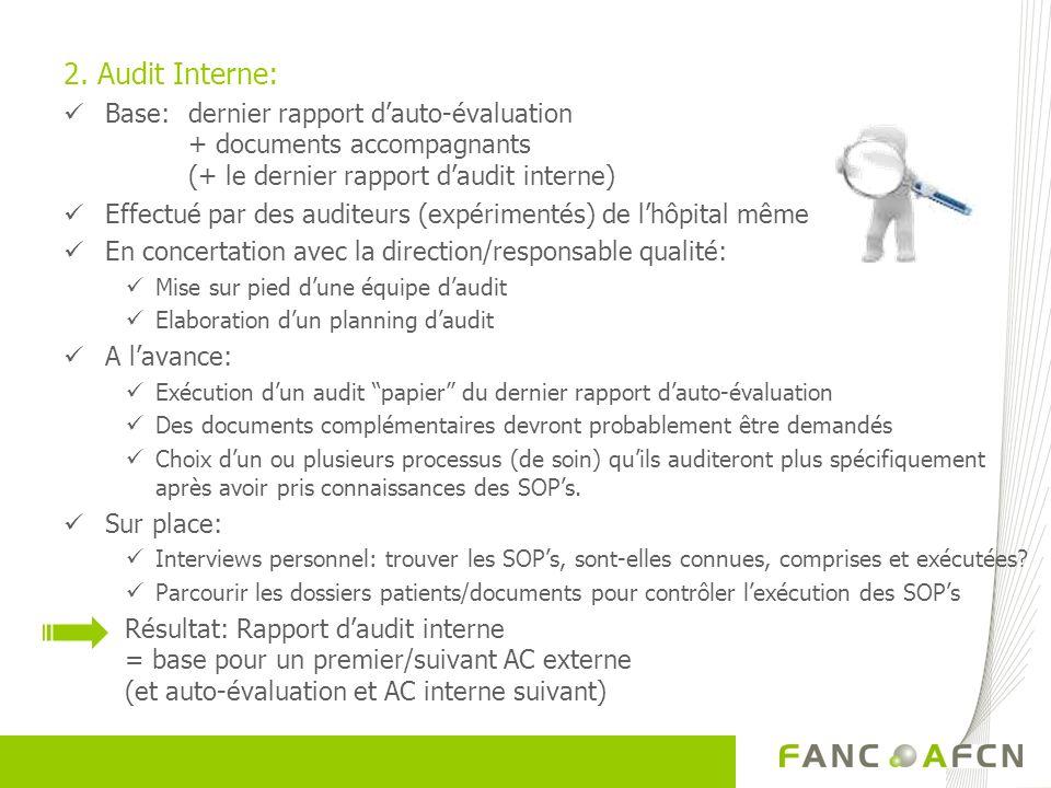 2. Audit Interne: Base: dernier rapport dauto-évaluation + documents accompagnants (+ le dernier rapport daudit interne) Effectué par des auditeurs (e
