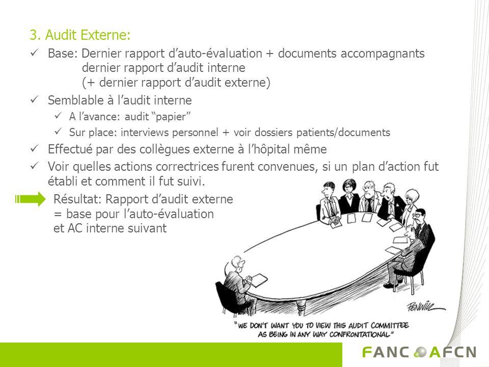 3. Audit Externe: Base: Dernier rapport dauto-évaluation + documents accompagnants dernier rapport daudit interne (+ dernier rapport daudit externe) S
