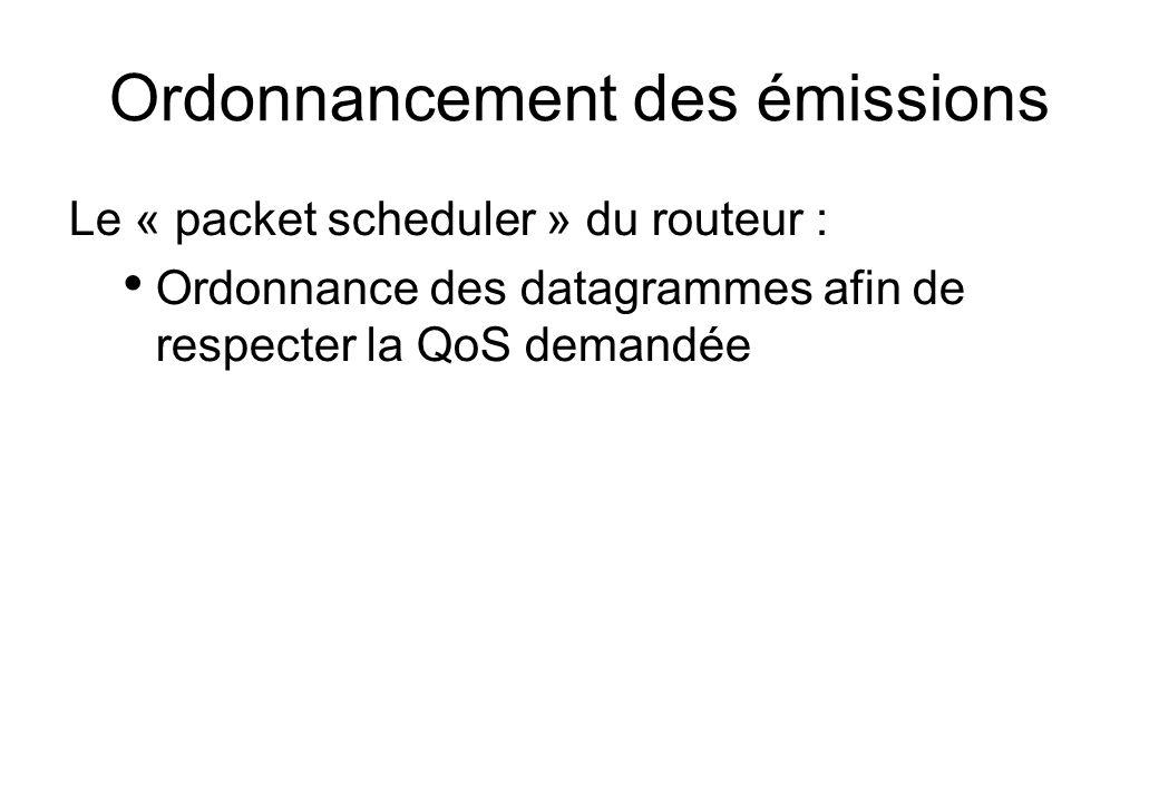 Ordonnancement des émissions Le « packet scheduler » du routeur : Ordonnance des datagrammes afin de respecter la QoS demandée