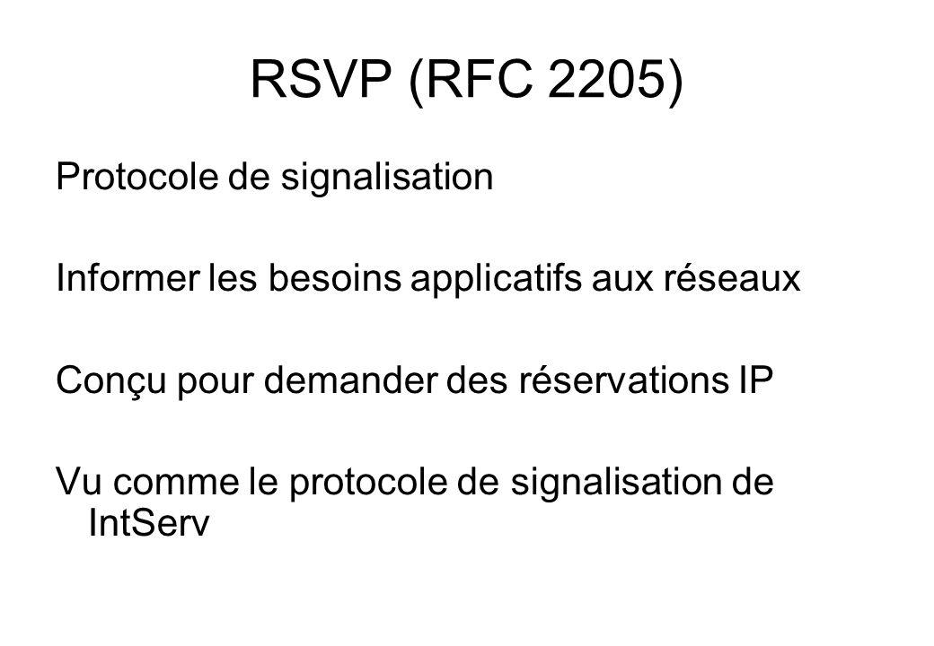 RSVP (RFC 2205) Protocole de signalisation Informer les besoins applicatifs aux réseaux Conçu pour demander des réservations IP Vu comme le protocole