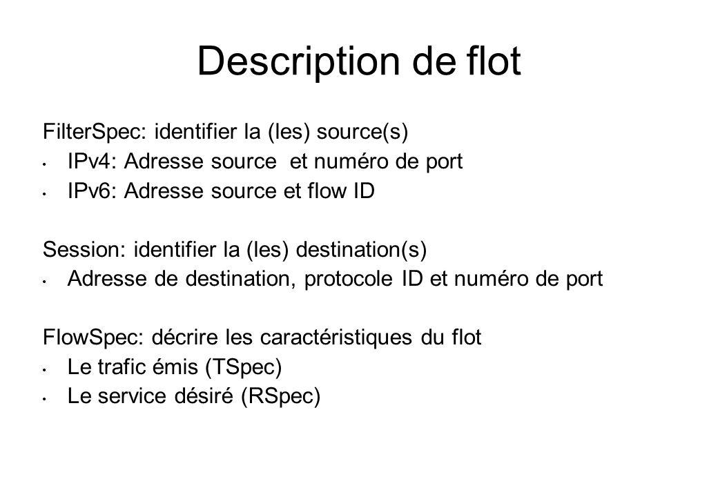 Description de flot FilterSpec: identifier la (les) source(s) IPv4: Adresse source et numéro de port IPv6: Adresse source et flow ID Session: identifi