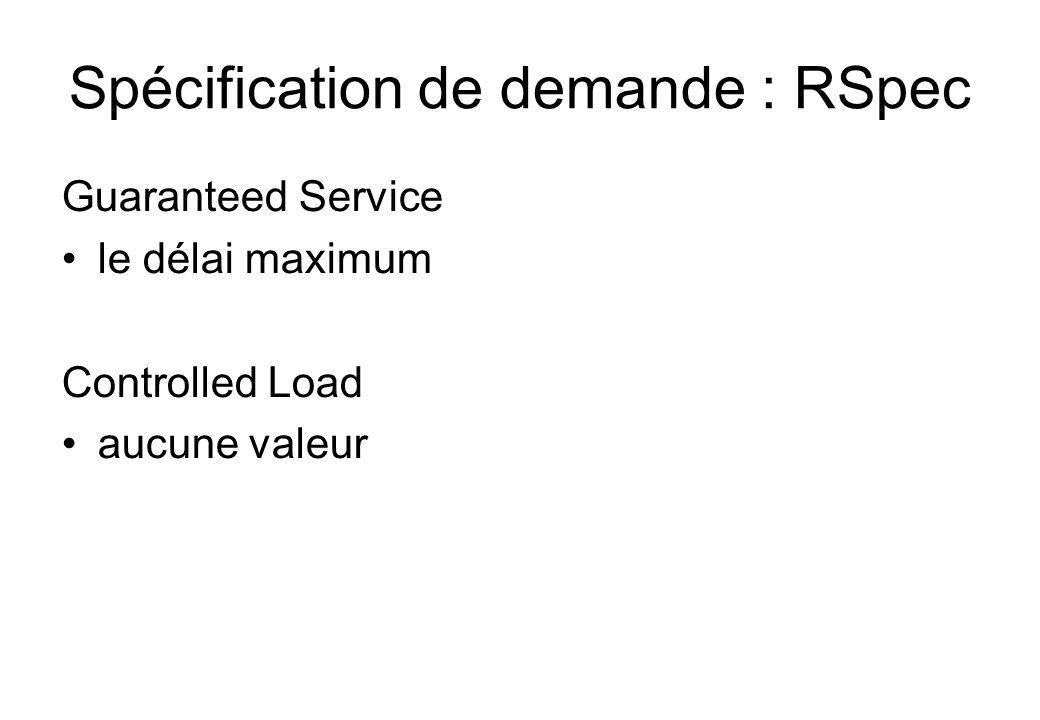 Spécification de demande : RSpec Guaranteed Service le délai maximum Controlled Load aucune valeur