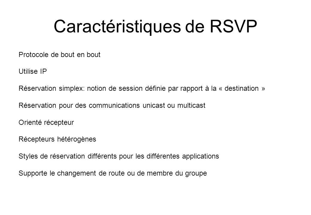 Caractéristiques de RSVP Protocole de bout en bout Utilise IP Réservation simplex: notion de session définie par rapport à la « destination » Réservat