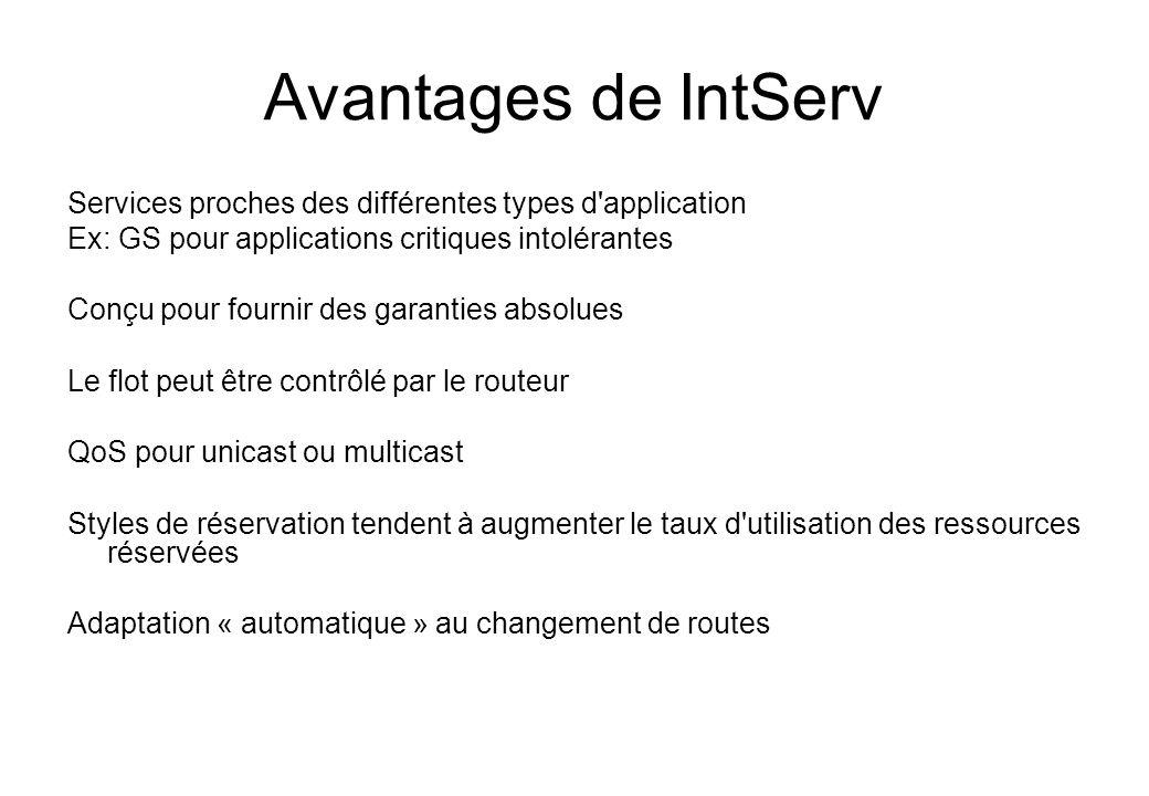 Avantages de IntServ Services proches des différentes types d'application Ex: GS pour applications critiques intolérantes Conçu pour fournir des garan