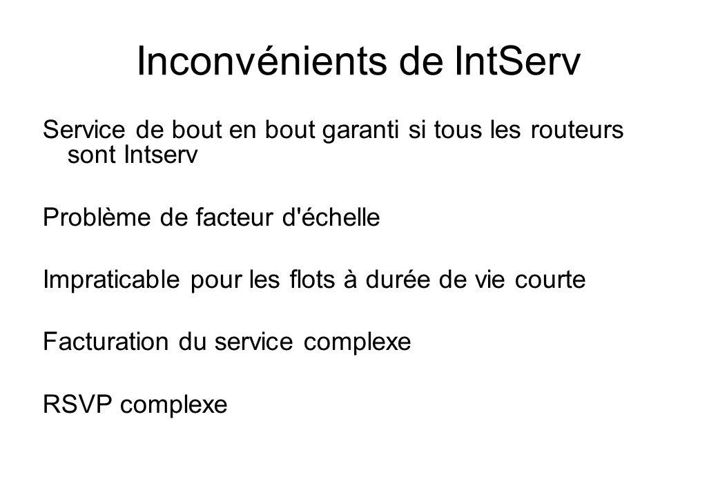 Inconvénients de IntServ Service de bout en bout garanti si tous les routeurs sont Intserv Problème de facteur d'échelle Impraticable pour les flots à