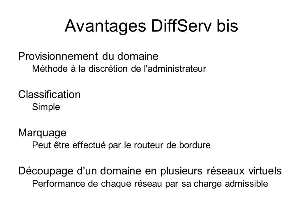 Avantages DiffServ bis Provisionnement du domaine Méthode à la discrétion de l'administrateur Classification Simple Marquage Peut être effectué par le