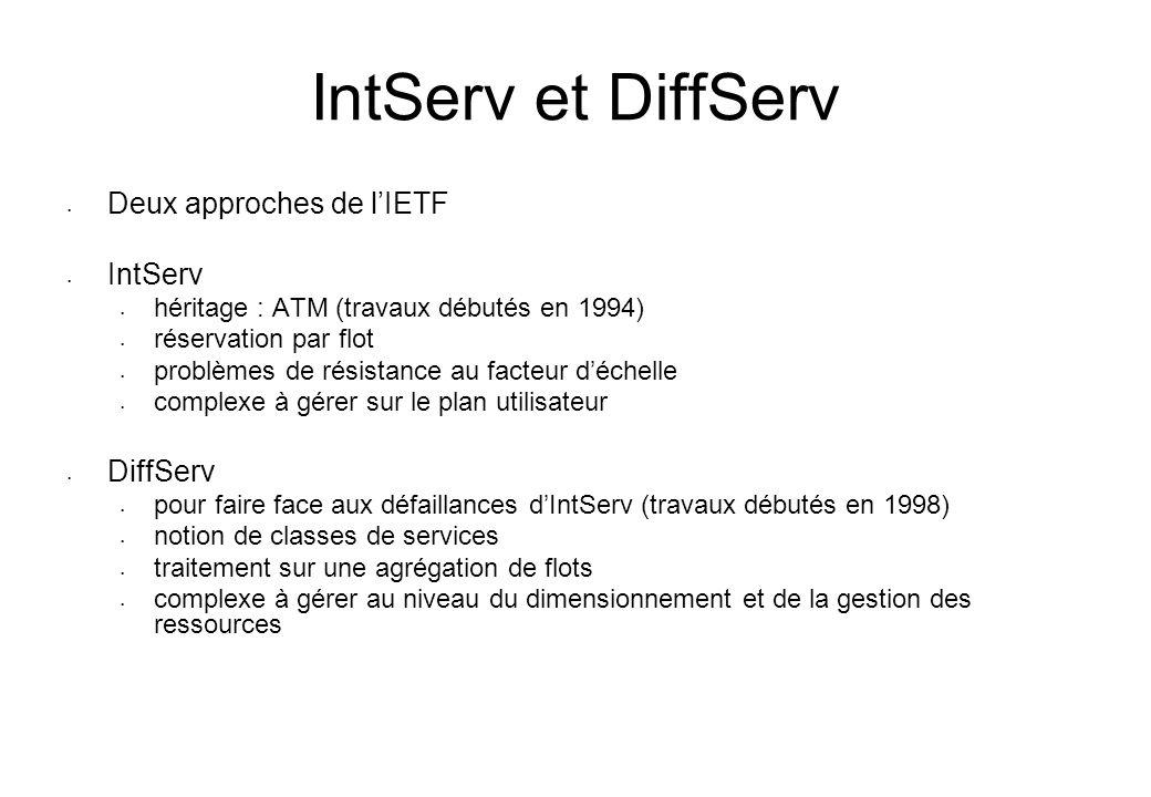 IntServ et DiffServ Deux approches de lIETF IntServ héritage : ATM (travaux débutés en 1994) réservation par flot problèmes de résistance au facteur d