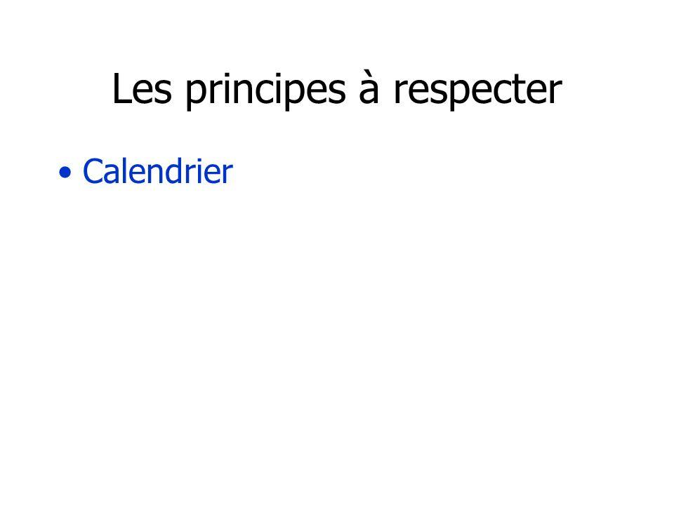 Les principes à respecter Calendrier Equilibre