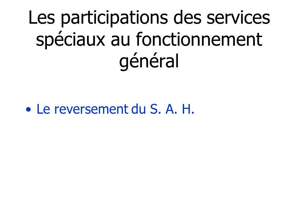 Les participations des services spéciaux au fonctionnement général Le reversement du S. A. H.