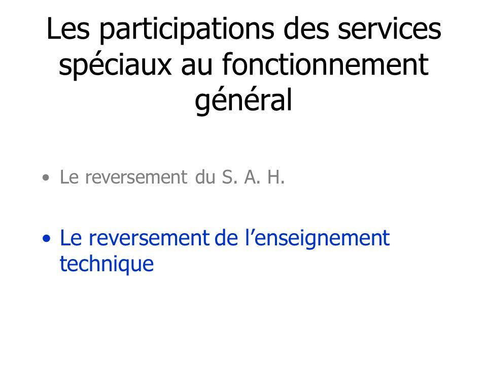 Les participations des services spéciaux au fonctionnement général Le reversement du S.