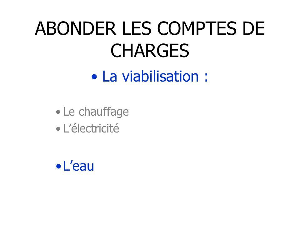 ABONDER LES COMPTES DE CHARGES La viabilisation : Le chauffage Lélectricité Leau