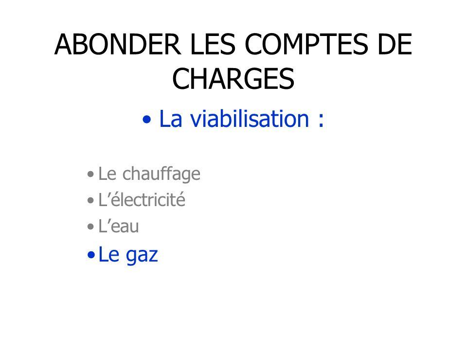 ABONDER LES COMPTES DE CHARGES La viabilisation : Le chauffage Lélectricité Leau Le gaz