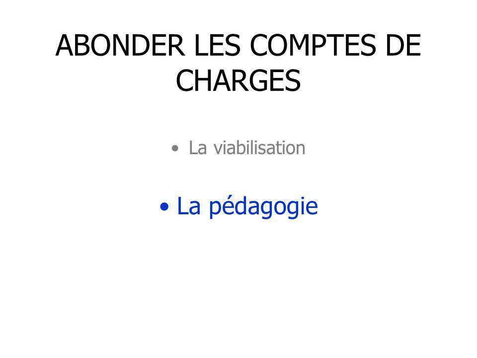 ABONDER LES COMPTES DE CHARGES La viabilisation La pédagogie