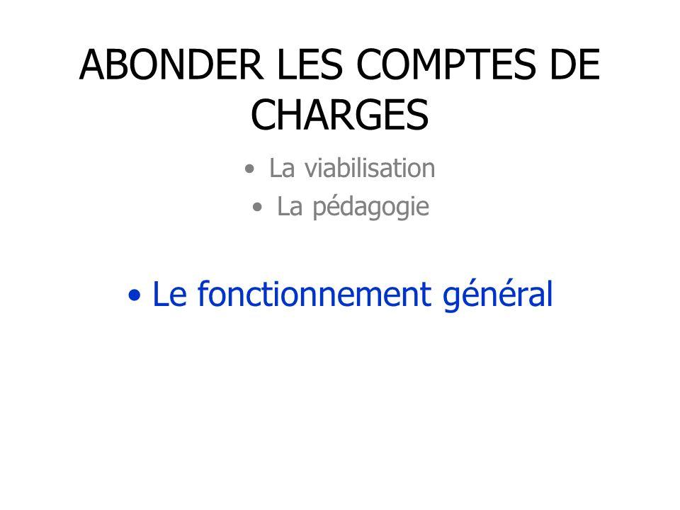 ABONDER LES COMPTES DE CHARGES La viabilisation La pédagogie Le fonctionnement général