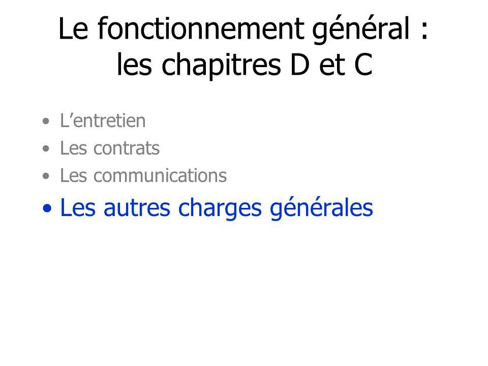 Le fonctionnement général : les chapitres D et C Lentretien Les contrats Les communications Les autres charges générales