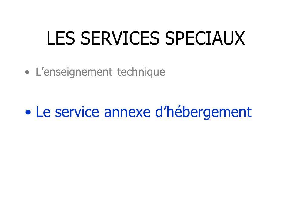 LES SERVICES SPECIAUX Lenseignement technique Le service annexe dhébergement