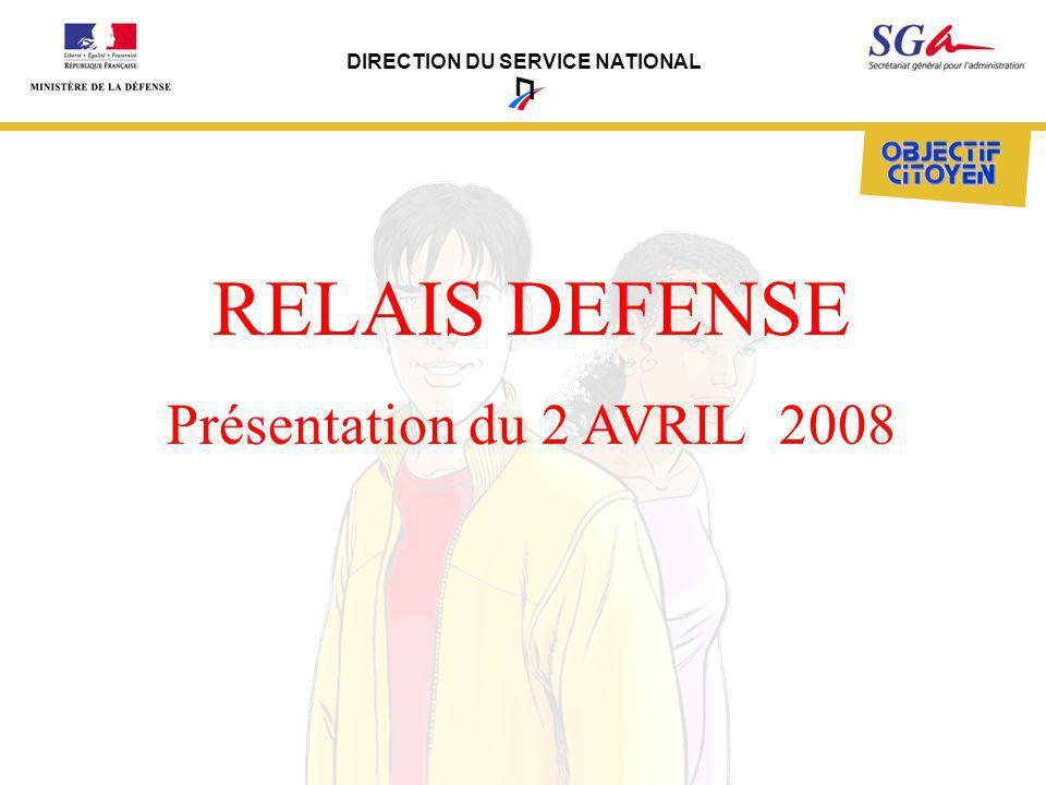 DIRECTION DU SERVICE NATIONAL RELAIS DEFENSE Présentation du 2 AVRIL 2008
