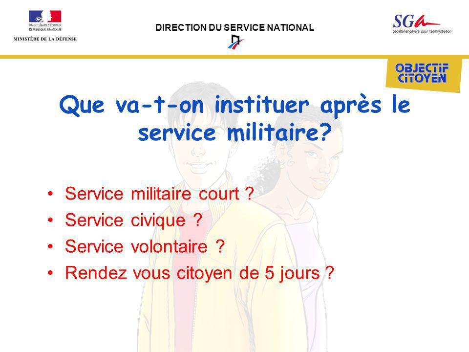 DIRECTION DU SERVICE NATIONAL Que va-t-on instituer après le service militaire? Service militaire court ? Service civique ? Service volontaire ? Rende
