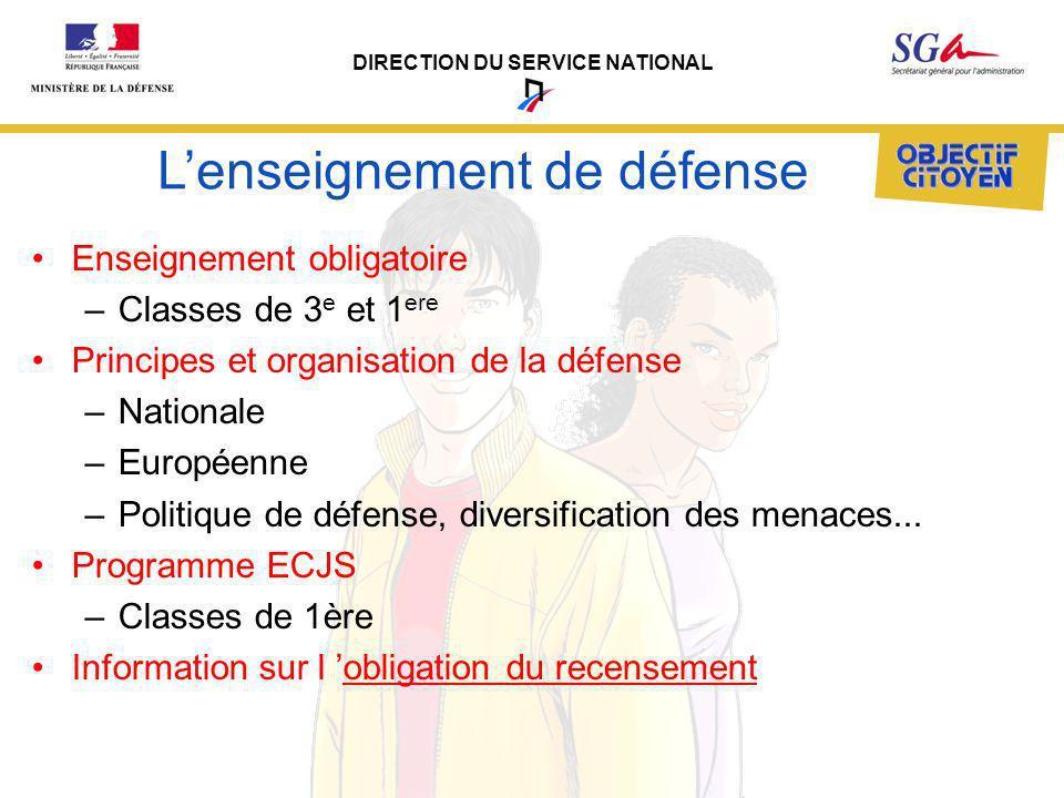 DIRECTION DU SERVICE NATIONAL Lenseignement de défense Enseignement obligatoire –Classes de 3 e et 1 ere Principes et organisation de la défense –Nati
