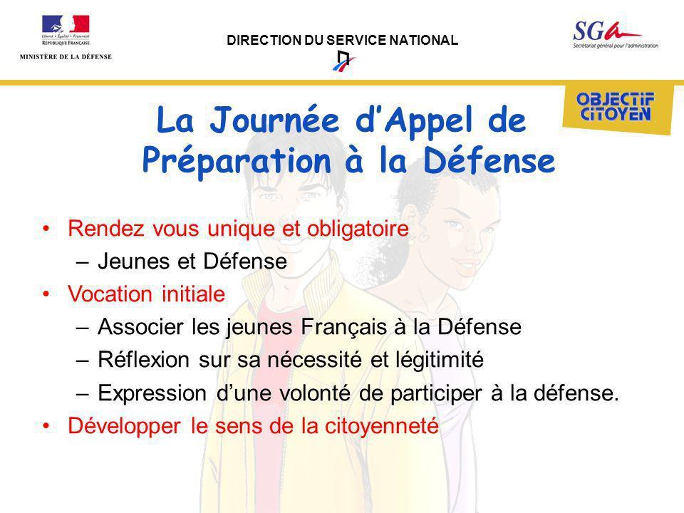 DIRECTION DU SERVICE NATIONAL La Journée dAppel de Préparation à la Défense Rendez vous unique et obligatoire –Jeunes et Défense Vocation initiale –As