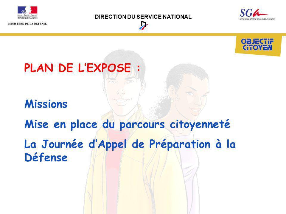 DIRECTION DU SERVICE NATIONAL Missions