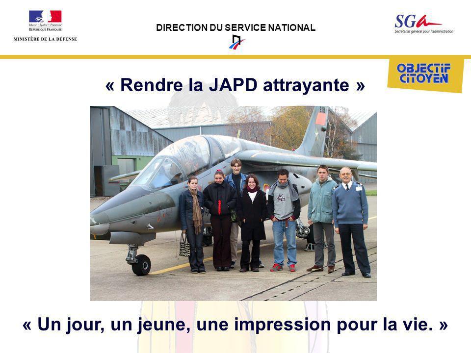 DIRECTION DU SERVICE NATIONAL « Un jour, un jeune, une impression pour la vie. » « Rendre la JAPD attrayante »