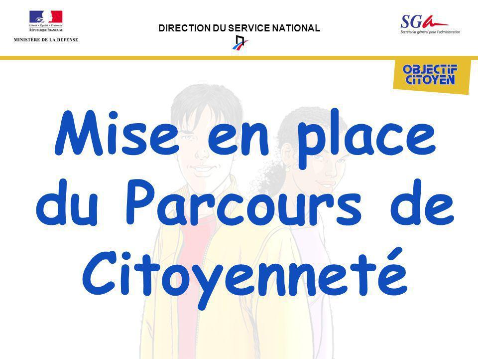 DIRECTION DU SERVICE NATIONAL Mise en place du Parcours de Citoyenneté
