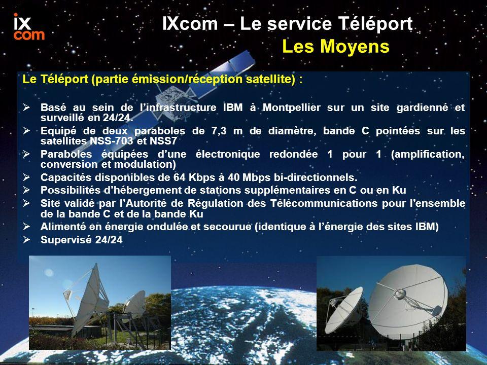 IXcom – Le service Téléport Les Moyens Le Téléport (partie émission/réception satellite) : Basé au sein de linfrastructure IBM à Montpellier sur un si