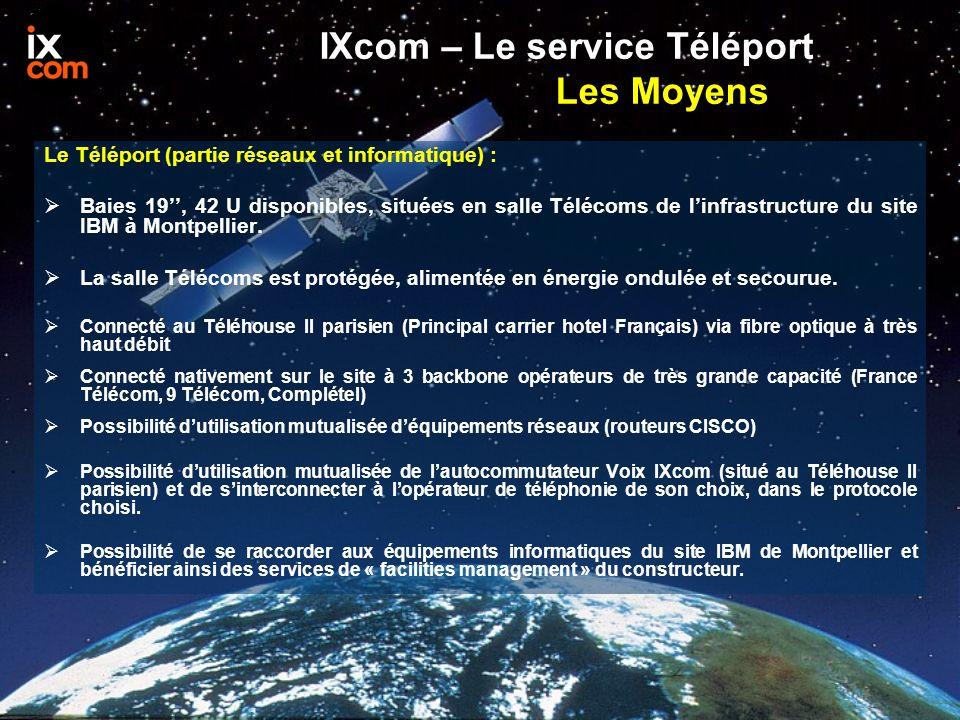 IXcom – Le service Téléport Les Moyens Le Téléport (partie réseaux et informatique) : Baies 19, 42 U disponibles, situées en salle Télécoms de linfras